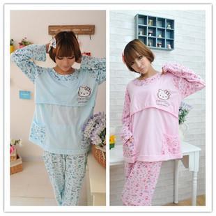 Maternity clothing lounge kt cat nursing set month clothes sleepwear maternity autumn - BONA Firm Co.,Ltd. store