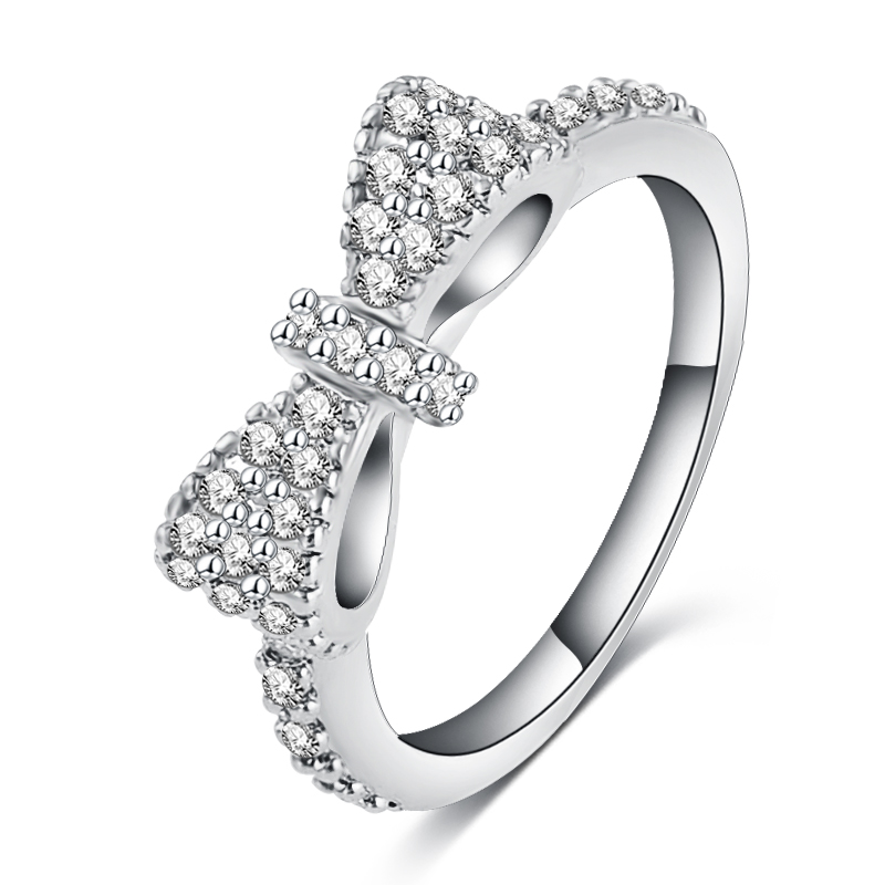 Luxury Lovely Bow Rings Rose Gold Platinum Plated Micro Inlay Full Cubic Zirconia Romantic Jewelry Party