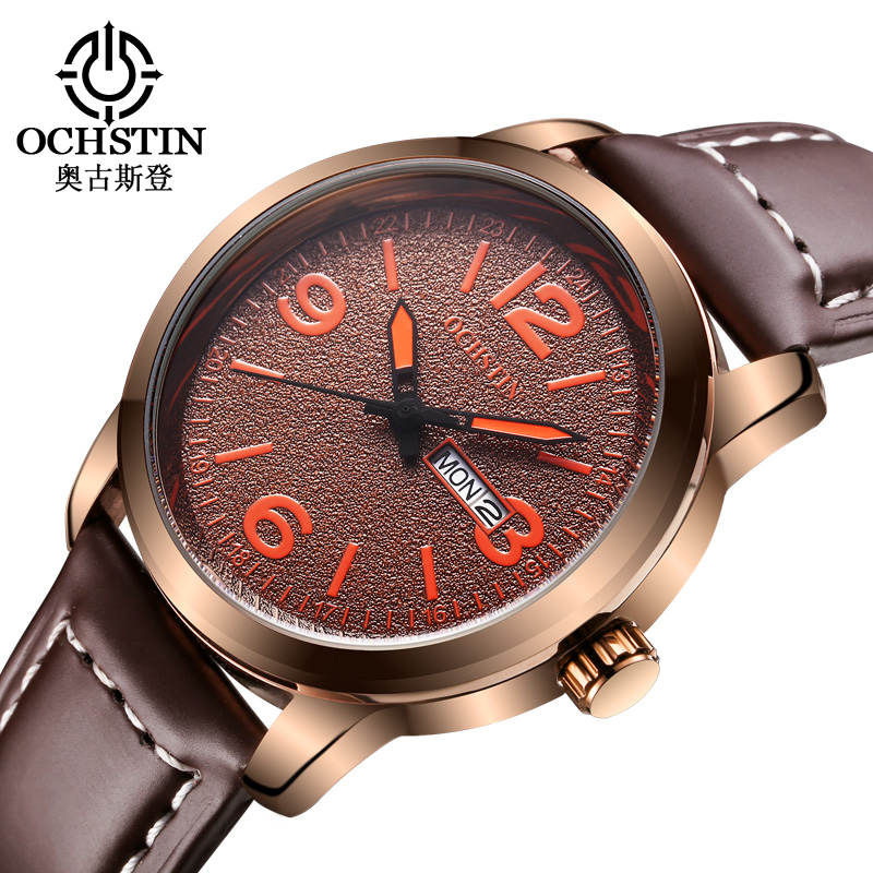 OCHSTIN Wuxury Brand Men Watches Fashion Casual Dual Display Calendar Clock Ultra-thin Leather Strap Waterproof Watch 2016(China (Mainland))