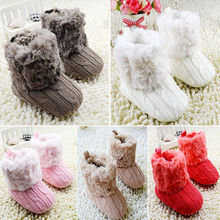 Infant Baby Toddler Crochet Knit Fleece Boots Warm Knit Bootee Crib Shoes Socks