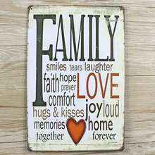 "New arrival ""FAMYLY LOVE"" Tin plate signs movie poster Art Cafe Bar Vintage Metal Painting wall stickers home decor 20X30 CM(China (Mainland))"