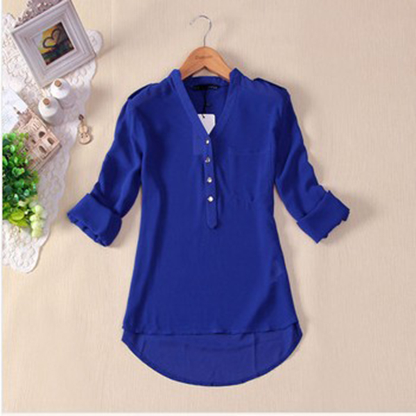 Loose Solid Color Long Sleeve Chiffon Women Blouse White Black Blue Women Chiffon Blouse Metal Buckle V-neck Spring Shirt Tops(China (Mainland))