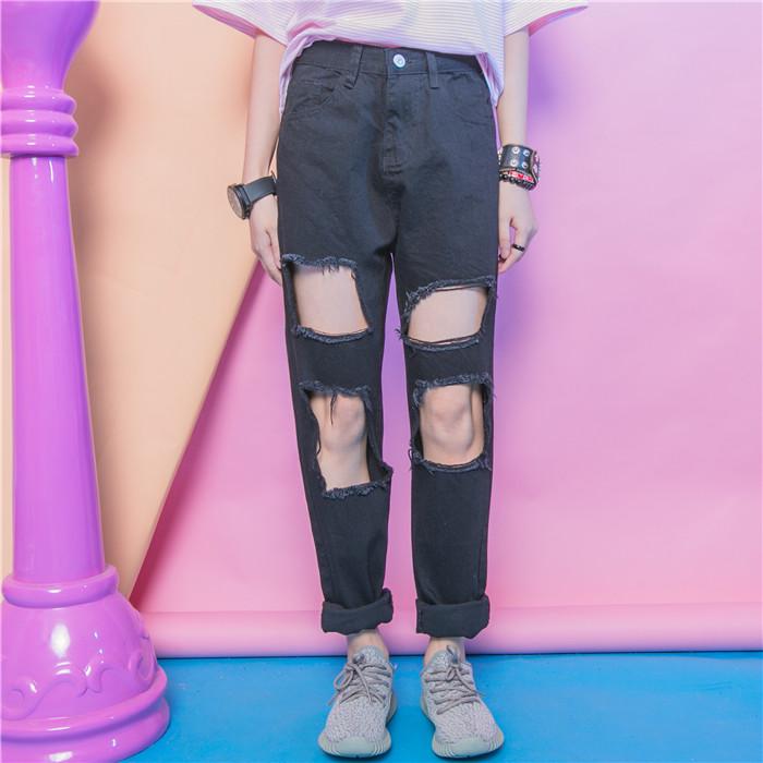 Jasmine fashion street HARAJUKU personality hole selvege clipping rough loose jeans bf(China (Mainland))
