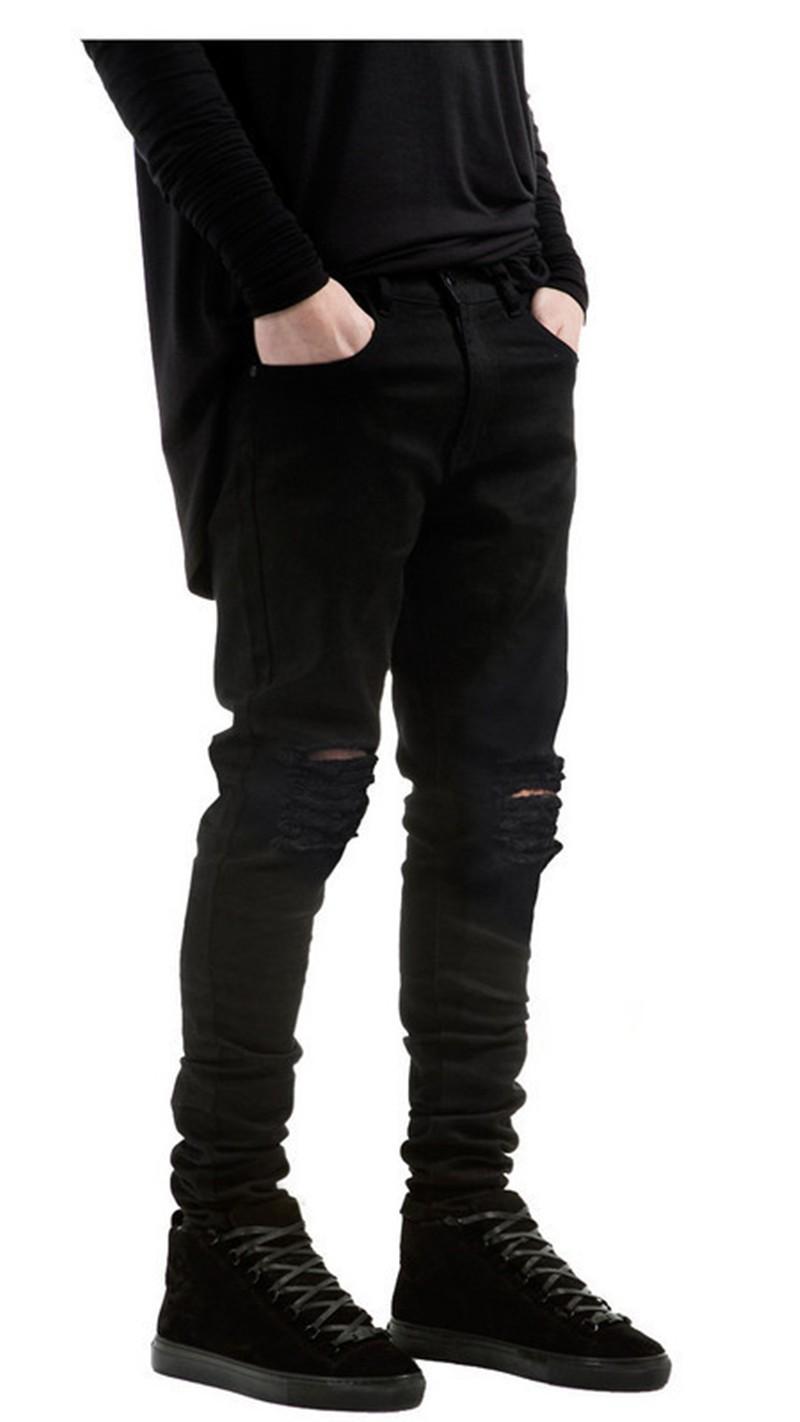 Скидки на 2016 новых людей тощий черные джинсы Тонкий стретч torn хип-хоп мужская мода случайные джинсы 28-36 Бесплатная Доставка доставка