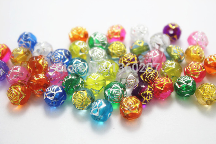 wholesale 500pcs/lot 8mm Mixed Color acrylic beads Acrylic Rose Carved Round Beads(China (Mainland))