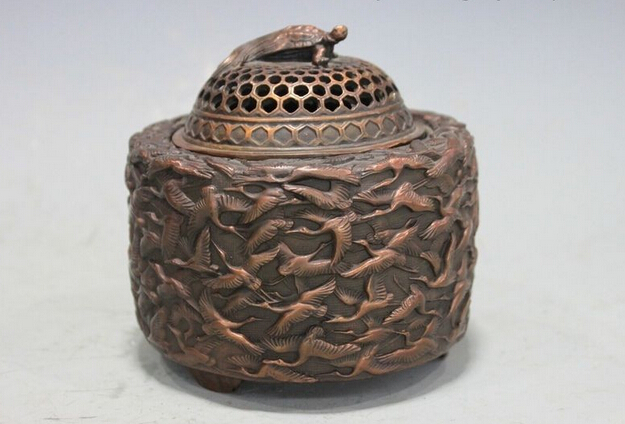 wholesale factory Chinese Pure Bronze Copper hundred Crane Figure tortoise Incense Burner Censer(China (Mainland))
