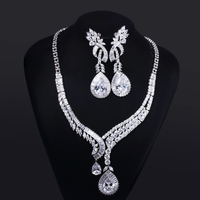 L&amp;Y 2015 New Arrival Big Water Drop Wedding Jewelry Set Cubic Zircon Neckalce &amp; Earrings Prong Setting Platinum Plated Lead Free<br><br>Aliexpress