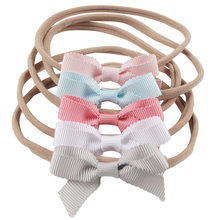 1 Set (5Pcs) Girls Fashion Headband Solid Ribbon Bowknot with Elastic Nylon Bands Handmade Head Wrap Kids' Cute Hair Accessories(China)