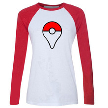 New 2016 Pokemon Go Casual Female Long-sleeved Printed Clothes Street Style Slim Fit Women's T-shirts Ladies tops Plus size S-XL