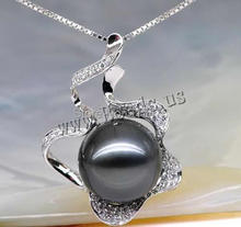 Free shipping!!!Tahitian Pearls Pendant,Trendy, with 18K White Gold, Flower, natural, with cubic zirconia, black, 11-12mm(China (Mainland))