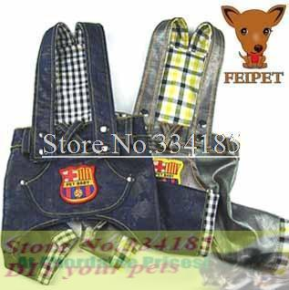 Discount! Free shipping dogs clothes,princess spoil dog clothing braces jeans plaid jeans clothes back,hot sales!