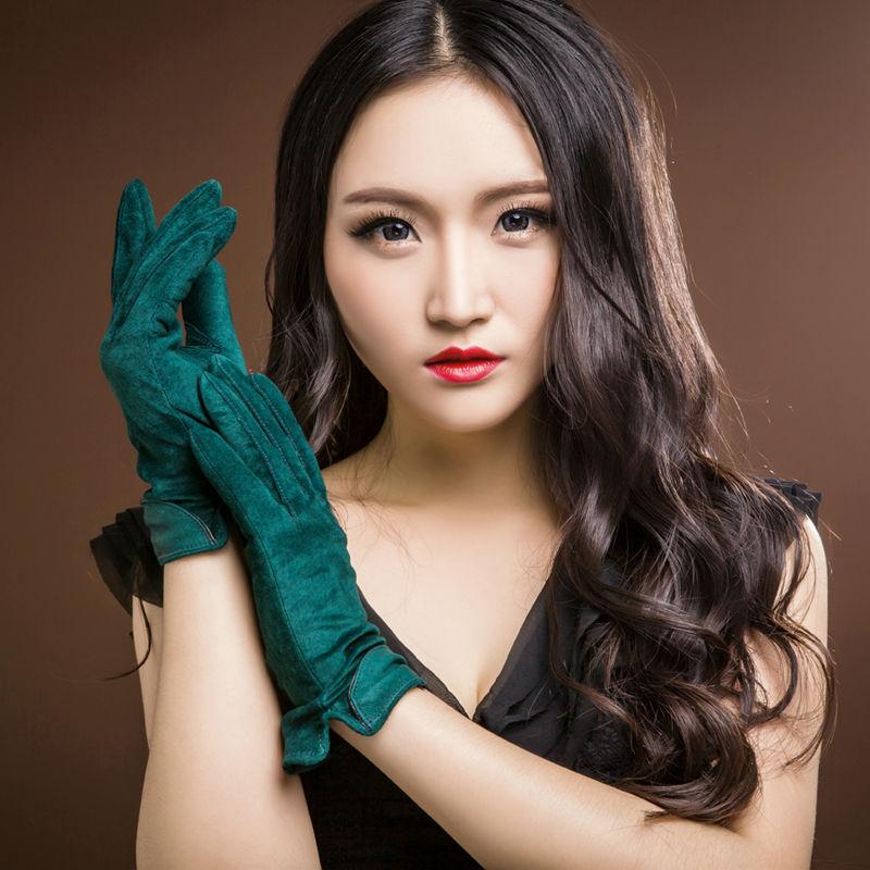 2015 новое мода женщин из натуральной замши флисовые перчатки зима женщины кожаные перчатки женщина леди вождения кожаные перчатки