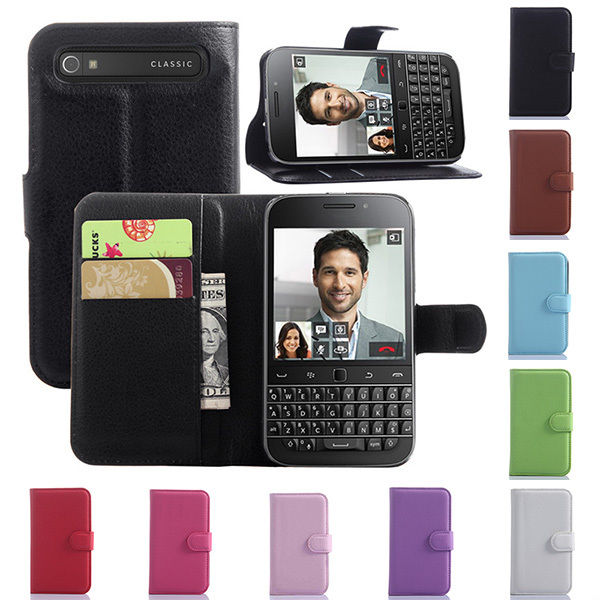 OWNEST Luxury Wallet Flip Cover Case For BlackBerry Classic Q20 Cell Phone PU Case with Card Slot(China (Mainland))