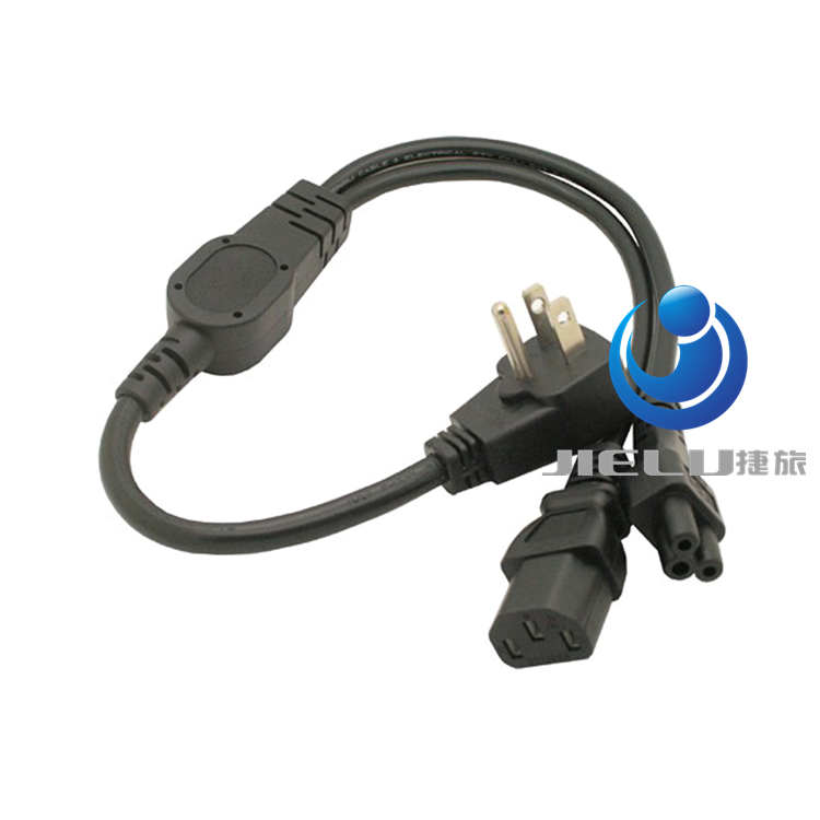 Free ship 2 in 1 Flat Nema 5-15P Plug to IEC 320 C13 C5 Y Splitter Power Cord/Cable About 30CM(China (Mainland))