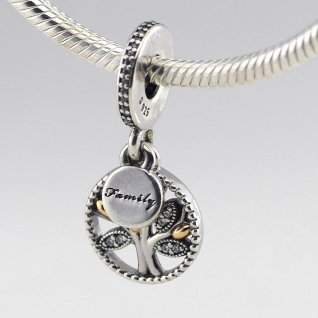 Осень стиль серебряные ювелирные изделия 925 генеалогическое древо With14K бусины Fit пандора оригинальный подвески браслеты DIY ювелирных украшений