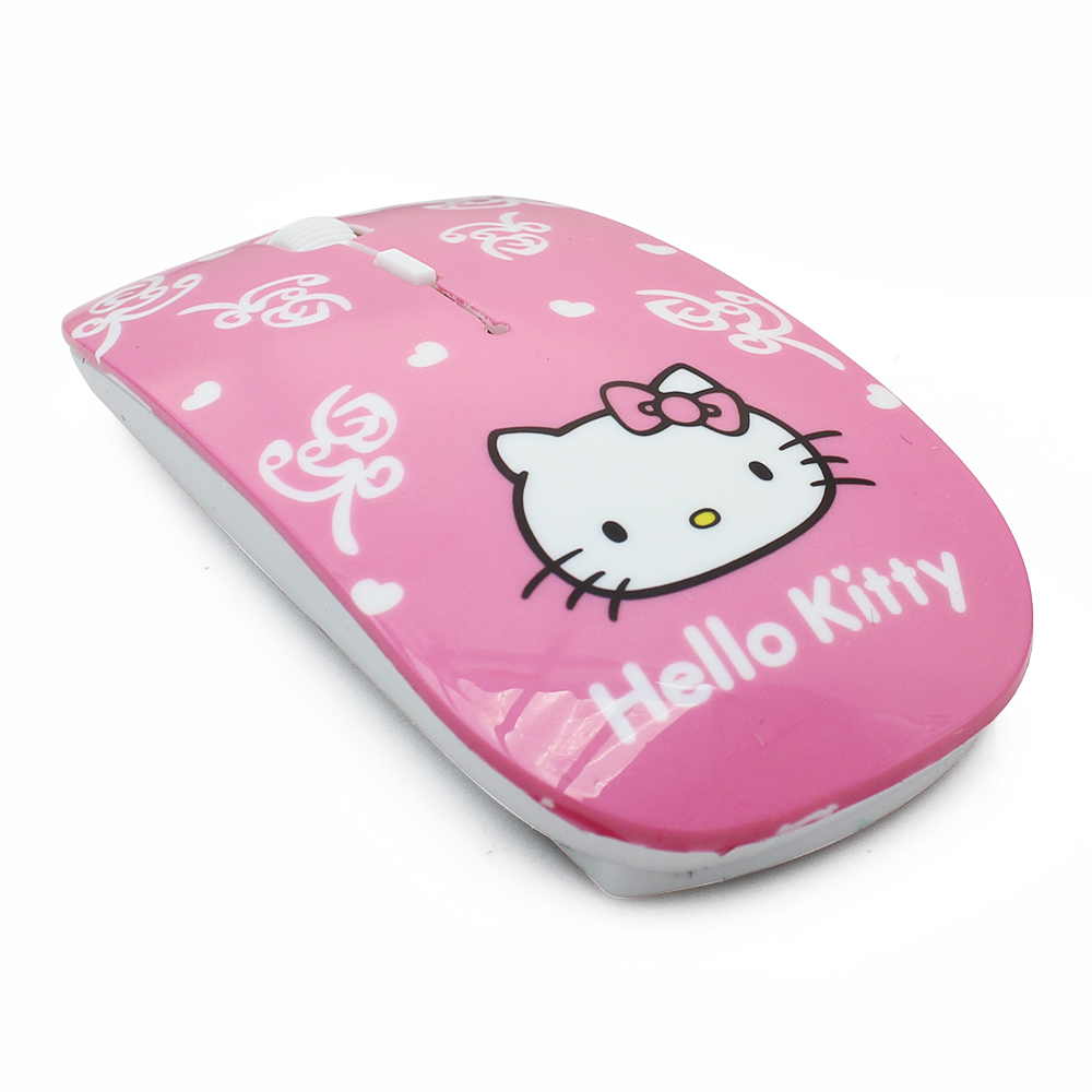 Free Shipping super thin mini animal cat wireless mouse women DPI 800-1000-1200 pink hello kitty computer mouse(China (Mainland))