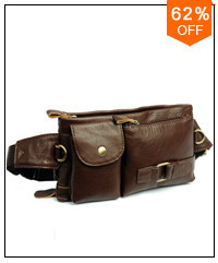 Men's Messenger Bag Cowhide Leather Chest Bag Hiking Bicycle
