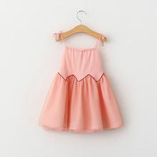 Female child summer cotton with voile sling dress girls beach brace dress