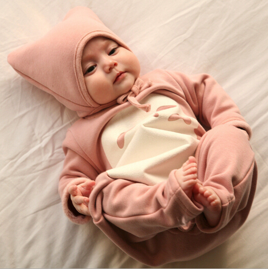 2PCS/spring autumn newborn baby clothes for boy girl baby winter rompers toddler costume jumpsuit+hat brand clothing set BC1403(China (Mainland))