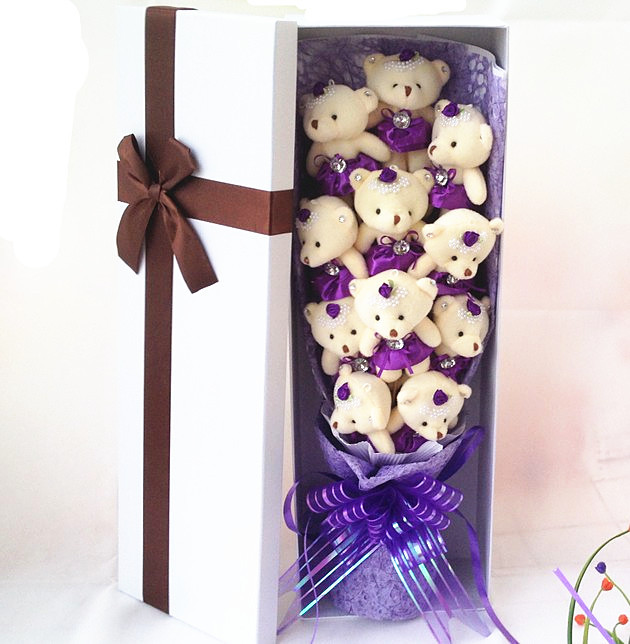 Handmade Wedding bridal bouquet Soft Plush Toy Bouquet Teddy Bear Cartoon Doll Fake Rose Valentine/Graduation Gift - Lily foreign trade commodity store