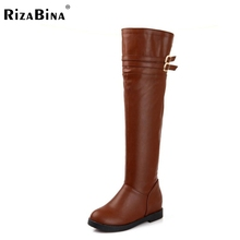 Buy ladies flat knee boots riding women snow long botas warm winter boot fashion buckle footwear shoes P20409 size 34-40 for $29.48 in AliExpress store