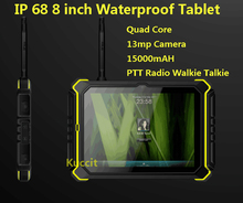 2015 PTT Radio Walkie talkie 8″ HD IP68 shockproof waterproof tablet phone PC cell phone 15000mAH Android Rugged Tablet 13MP