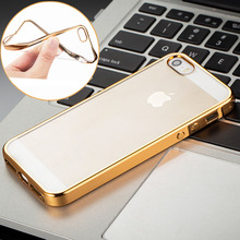 Silicone Case For iPhone 5 / 5S / SE Cover Transparent Back Luxury Bumper Fundas For i Phone 5 S Phone5 Apple Brand Coque Gold(China (Mainland))