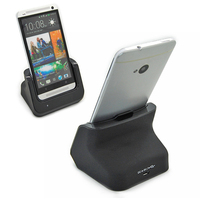 High quality Dual Battery Charger Dock station Cradle Stand Holder + USB cable For HTC One M7 wholesale free shipping