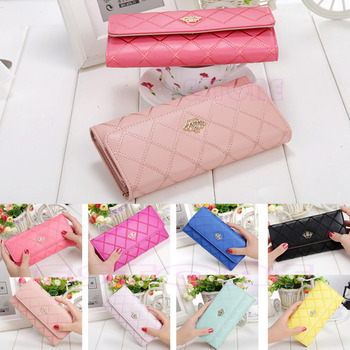 HOT New Coming Fashion Lady Womens Long Check Purse Clutch Crown PU Leather Wallet Card Holder Handbag