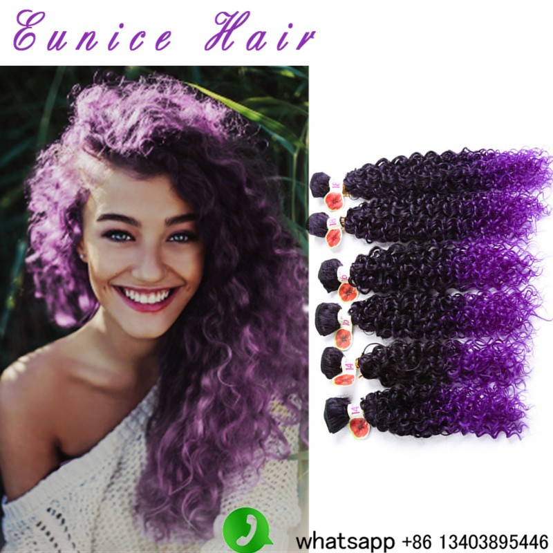 Dark Purple Jerry Wavy 6pcslot kinky curly crochet hair weavings  (2)