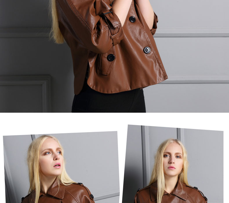 UUV Leather Jacket Women New 2016  Autumn Windbreaker Loose Style 3 Buttons Three Quarter Sleeve Blouson Cuir Femme JS1306063