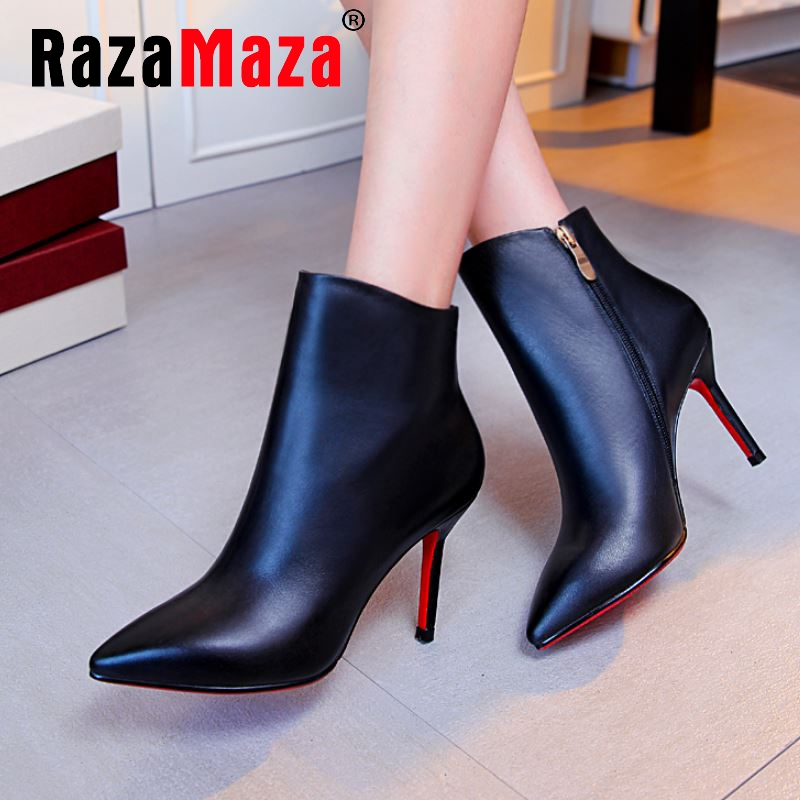 Фотография women real genuine leather high heels ankle boots sexy autumn winter warm boot heels footwear shoes R8048 size 34-39