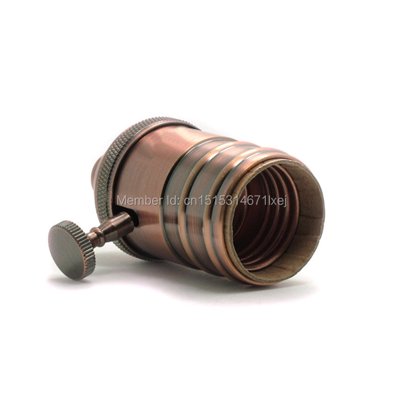 Antique Brass Lamp Socket With Screw On/OFF Switch E26/E27 vintage Edison style lampholder(China (Mainland))