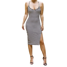 Promotion Women Bodycon Dress Midi Dress Stripe Pattern Open Back Side Split Summer Dress Hot Sale O Neck Women Dress Black(China (Mainland))