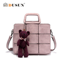 Dusun Winter New Arrival Women Patchwork Women Genuine Leather Handbags Women Shoulder Bag Ladies Casual Cubs Messenger Bag SS19(China (Mainland))