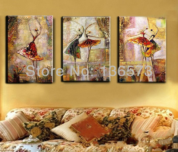 Hand Painted 3 Piece Modern Landscape Canvas Art Living Room Wall Pictures Ab