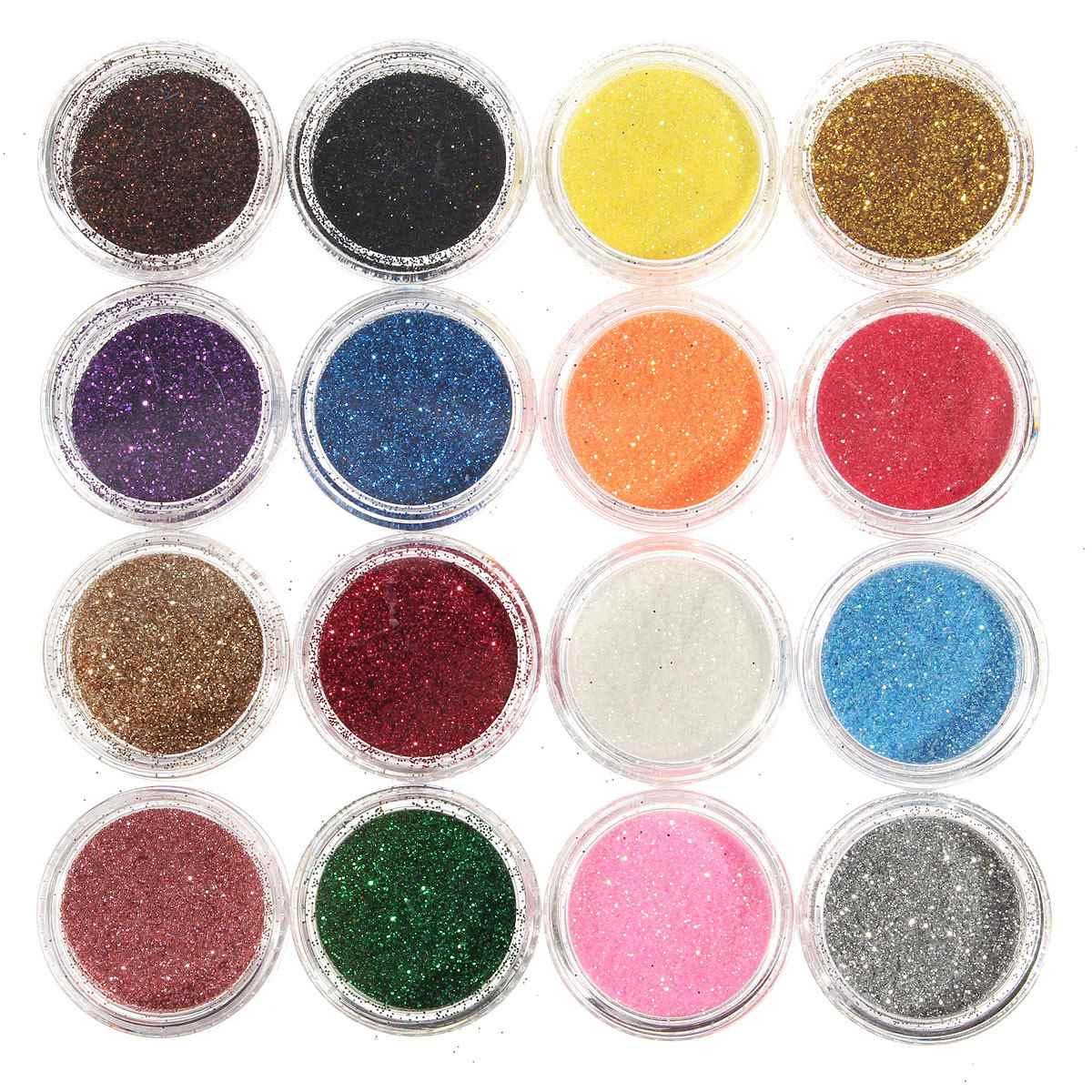 Hot Sale New 16 Mixed Colors Pigment Glitter Powder Mineral Spangle Eyeshadow Makeup 16pcs One Set Maquiagem(China (Mainland))