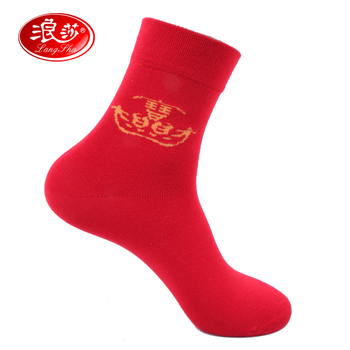 Langsha men's socks new arrival festive red knee length cotton male socks male