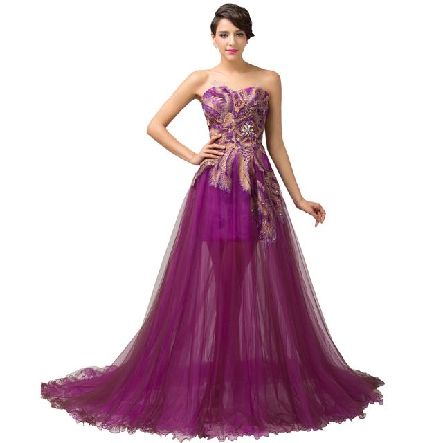 Новый! Грейс карин со бретелек аппликация вечернее платье 2016 тюль формальные длинные ...