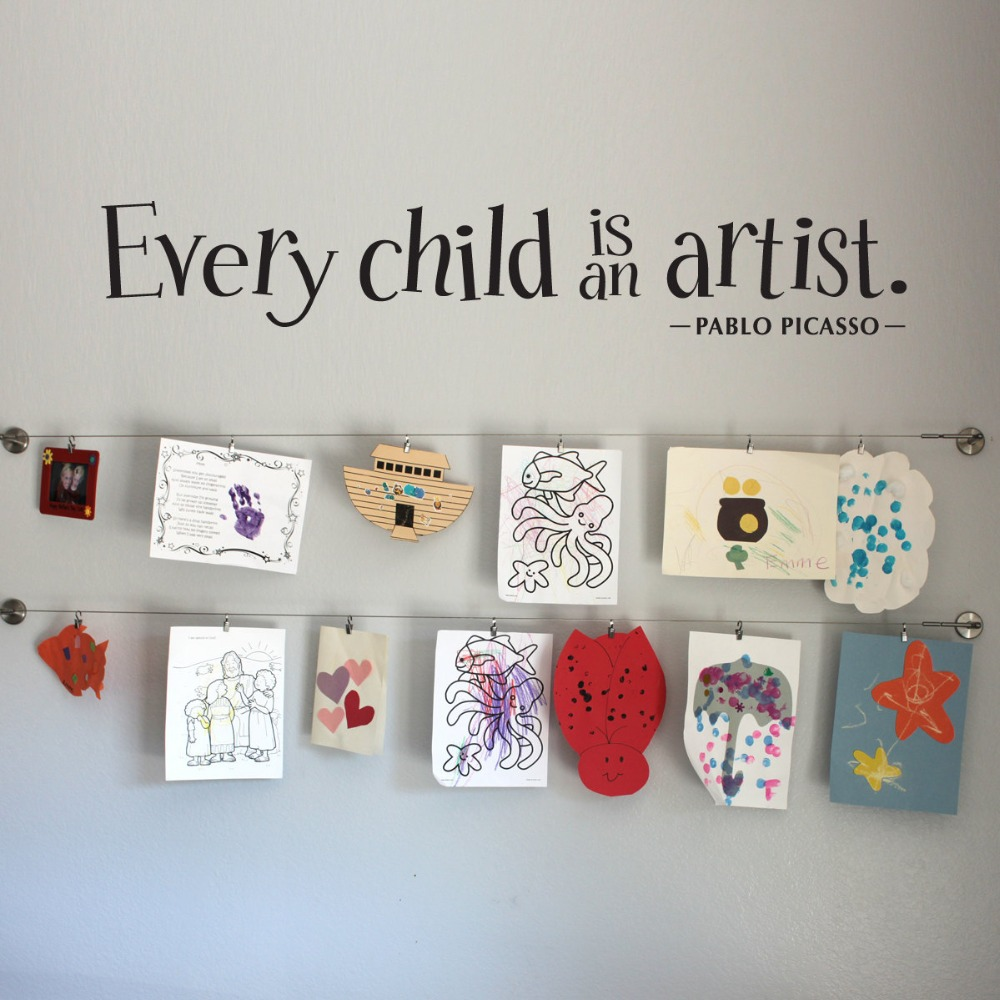 Every child is an artist wall decal large children artwork for Hanging kids artwork