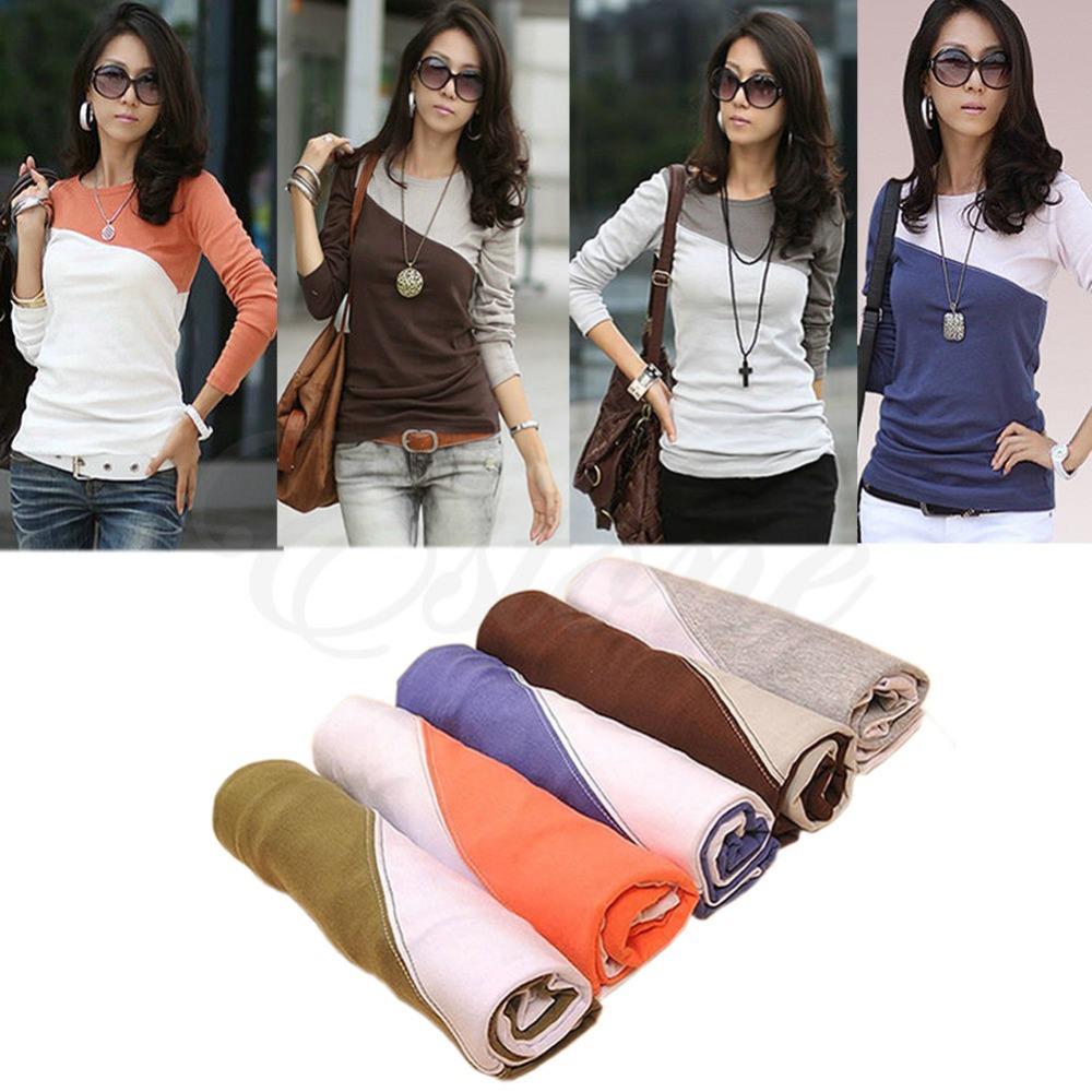 Гаджет  2014 Women Lady Stitching Bottom Shirt Long Sleeved T-shirts Blouse Top 5 Colors None Одежда и аксессуары