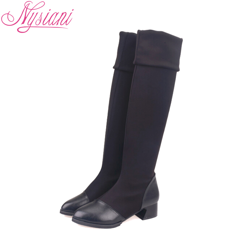 2015 Women Pointed Toe Over The Knee Boots PU Leather Square Low Heels Autumn Winter Ladies Thigh High Long Black elastic Boots(China (Mainland))