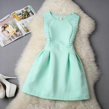 Fashion Women Summer Dress 2015  Pure Color Princess Dresses  Quality Sleeveless Vestidos Femininos(China (Mainland))
