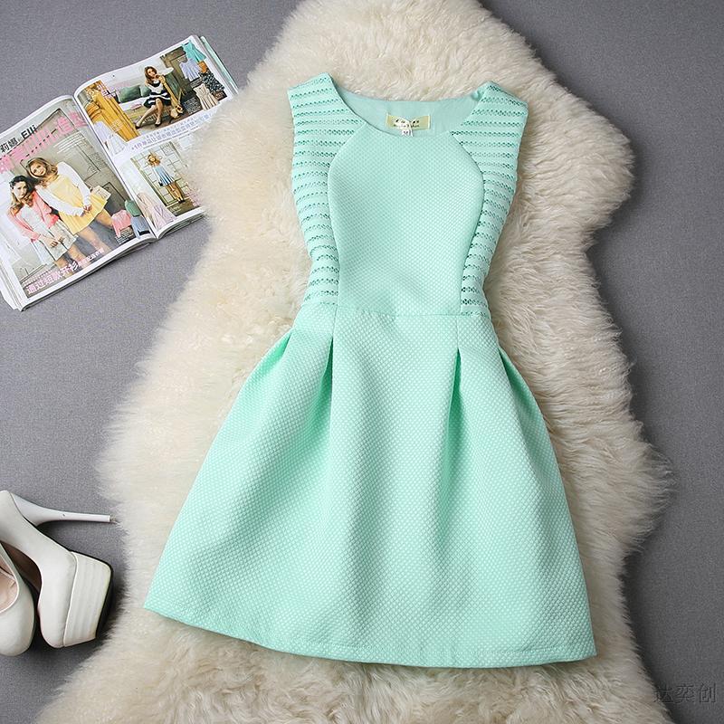 Платье без рукавов лето, женщины чистый цвет принцесса платья Vestidos Femininos
