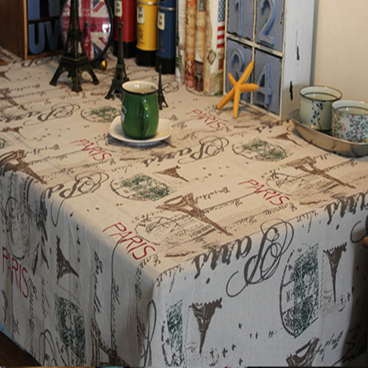 2016 Trendy fashion eiffel tower pattern tablecloth linen&cotton tablecloth restaurant table cover for picnic outdoor use#ZB0047(China (Mainland))
