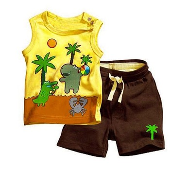 Boy Coconut Tree Pattern Sleeveless Tops Pants 2PCS Set Outfits Clothes 0-3Y Free Shipping
