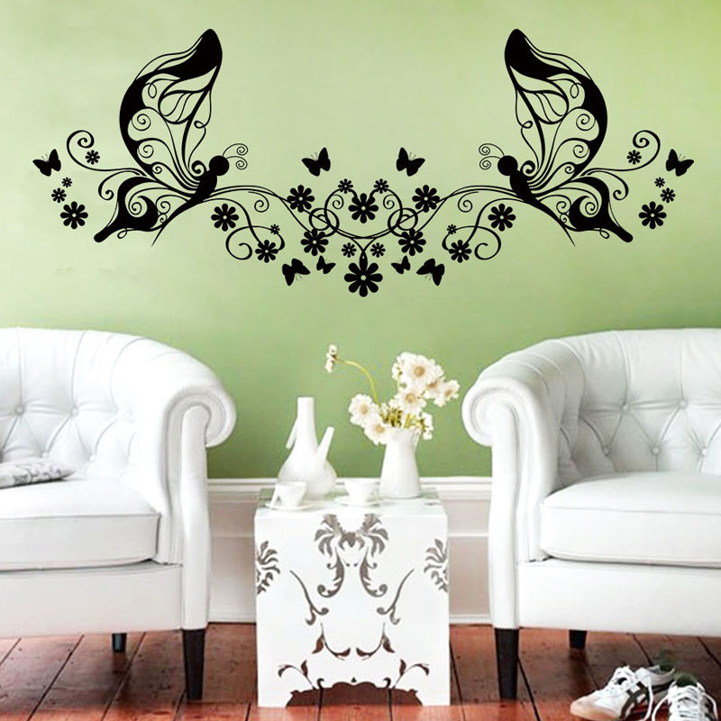 Hot sale creative vinyl flowers and butterflies wall for Home decor items on sale