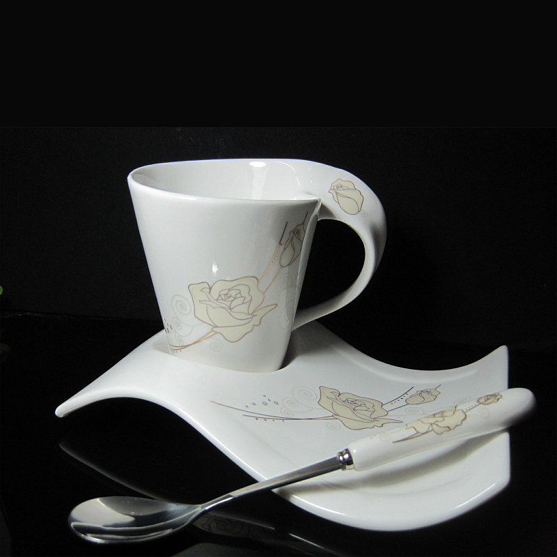 Coffee Cup Fashion Brief Wave Cup Ceramic Gold Rose Cup