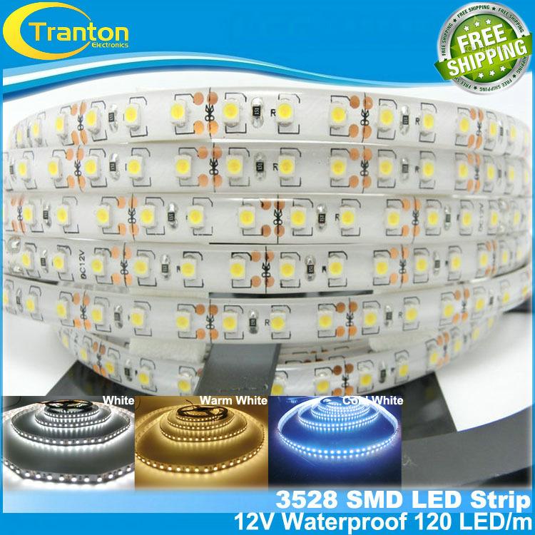 Гаджет  120 LED/m SMD3528 LED strip,5m 600 LED 12V flexible light IP65 Waterproof ,white/white warm/cold white None Свет и освещение
