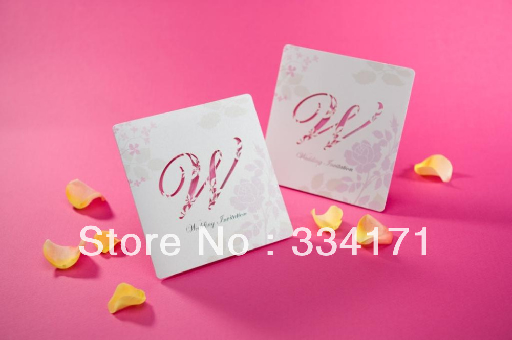 50pcs/set free envelop and free seal Romantic Cut-out Wedding Invitation In Pink W0155(China (Mainland))